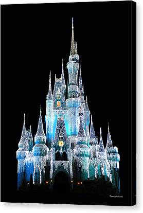 The Magic Kingdom Castle In Frosty Light Blue Walt Disney World Canvas Print