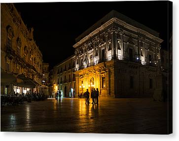 Canvas Print featuring the photograph The Magical Duomo Square In Ortygia Syracuse Sicily by Georgia Mizuleva