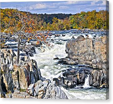 The Magnificent Autumn Waterfall Canvas Print by Leslie Cruz