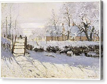 The Magpie Snow Effect Canvas Print by Claude Monet