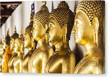 The Main Hall Of Wat Thardtong With Golden Buddha Statue Canvas Print by Anek Suwannaphoom