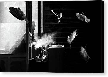 Canary Canvas Print - The Man Of Pigeons by Juan Luis Duran