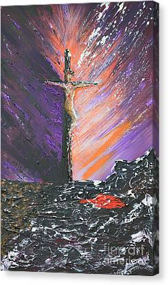The Man On The Cross Canvas Print by Alys Caviness-Gober