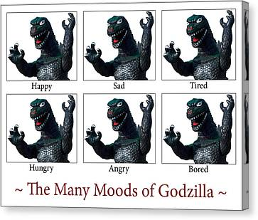 The Many Moods Of Godzilla Canvas Print by William Patrick