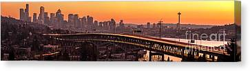 Union Bridge Canvas Print - The Many Shades Of Seattle Sunset by Mike Reid
