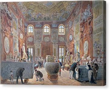 The Marble Room With Egyptian, Greek And Roman Antiquities Of The Ambraser Gallery In The Lower Canvas Print by Carl Goebel