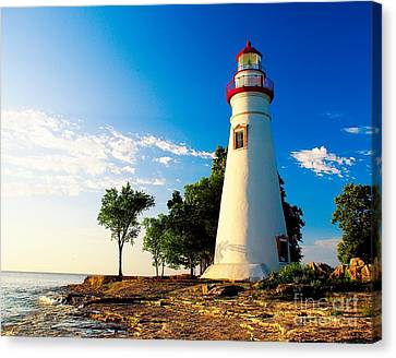 The Marblehead Light Canvas Print by Nick Zelinsky