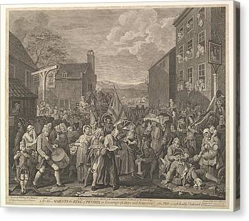 The March To Finchley--a Representation Canvas Print by After William Hogarth