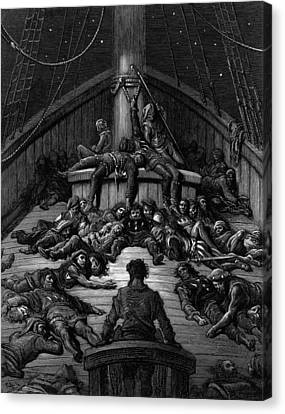 The Mariner Gazes On His Dead Companions And Laments The Curse Of His Survival While All His Fellow  Canvas Print by Gustave Dore