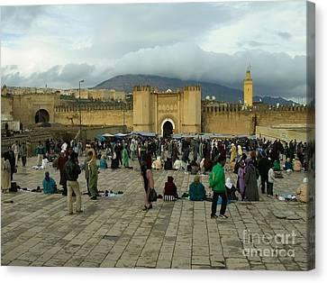 The Market In Fez Canvas Print by Sophie Vigneault