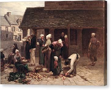 The Market Place Of Ploudalmezeau, Brittany, 1877 Oil On Canvas Canvas Print by Leon Augustin Lhermitte