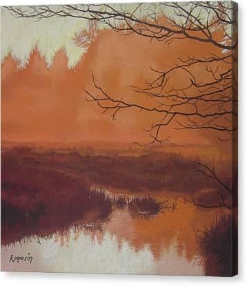 The Marsh Before The Sun Breaks Canvas Print by Harvey Rogosin