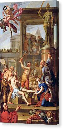 The Martyrdom Of Saint Adrian Canvas Print by Adrien Sacquespee