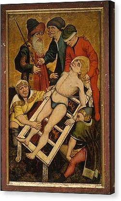 The Martyrdom Of Saint Lawrence Reverse Canvas Print by Master of the Acts of Mercy