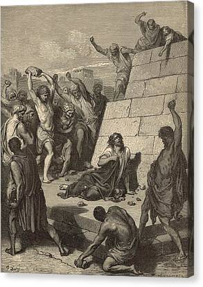 The Martyrdom Of St. Stephen Canvas Print by Antique Engravings