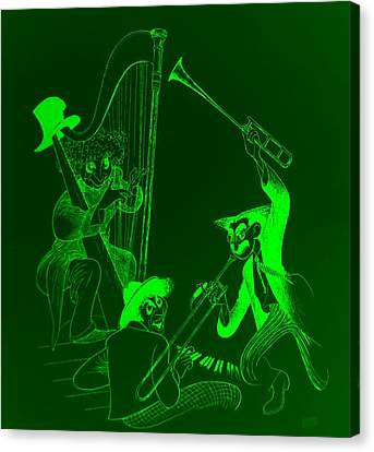 The Marx Brothers Green Canvas Print by Rob Hans