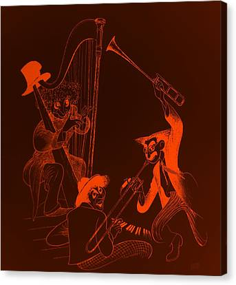 The Marx Brothers Orange Canvas Print by Rob Hans