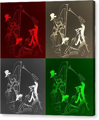 The Marx Brothers Quad Colors Canvas Print by Rob Hans