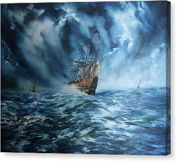 The Mary Rose And Fleet Canvas Print by Jean Walker