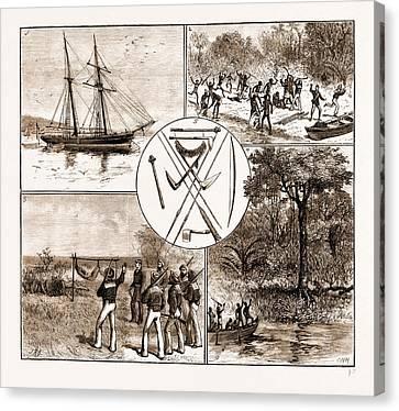 The Massacre Of Lieut. Bower And Five Seamen Of H.m.s Canvas Print by Litz Collection