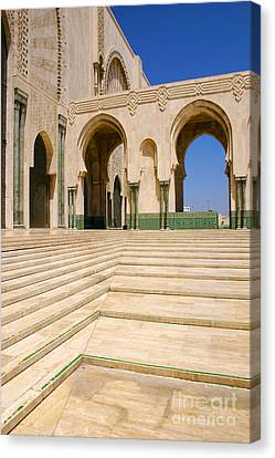 Canvas Print featuring the photograph The Massive Colonnades Leading To The Hassan II Mosque Sour Jdid Casablanca Morocco by Ralph A  Ledergerber-Photography