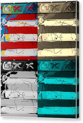 The Max Face In Quad Colors Canvas Print by Rob Hans