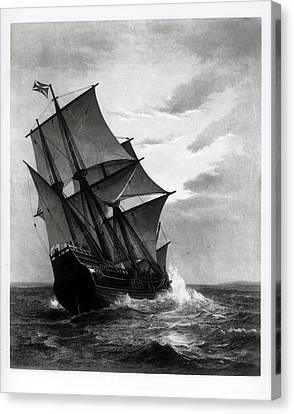 The Mayflower, Engraved And Pub. By John A. Lowell, Boston, 1905 Engraving Bw Photo Canvas Print by Marshall Johnson