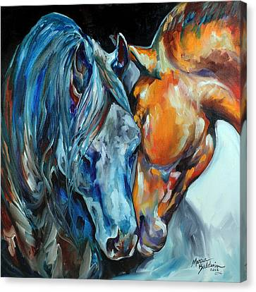Abstract Equine Canvas Print - The Meeting by Marcia Baldwin