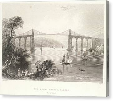 The Menai Bridge Canvas Print by British Library