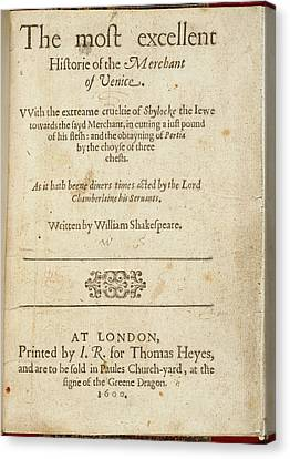The Merchant Of Venice Canvas Print by British Library