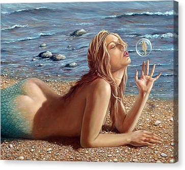 Sea Canvas Print - The Mermaids Friend by John Silver