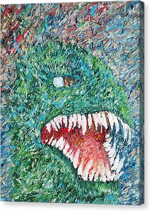 The Might That Came Upon The Earth To Bless - Godzilla Portrait Canvas Print by Fabrizio Cassetta