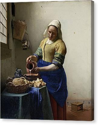 The Milkmaid Canvas Print by Johannes Vermeer