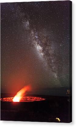 The Milky Way And Halema'uma'u Canvas Print by Nature  Photographer