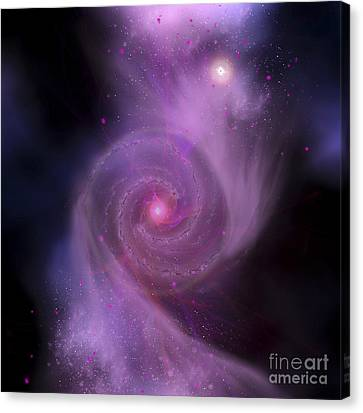 Merging Canvas Print - The Milky Way Galaxy And Andromeda by Corey Ford