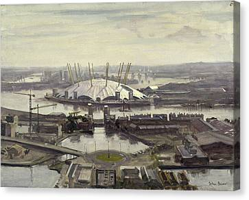 The Millennium Dome From Canary Wharf Oil On Canvas Canvas Print