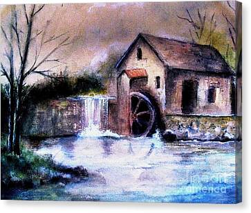 Canvas Print featuring the painting The Millstream by Hazel Holland