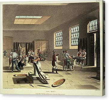 The Mint Workers Making Coins Canvas Print by British Library