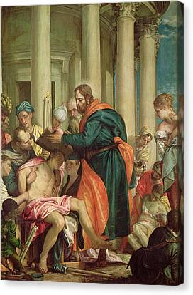 Gospel Of Matthew Canvas Print - The Miracle Of St. Barnabas, C.1566 Oil On Canvas by Veronese