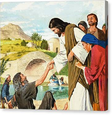Healer Canvas Print - The Miracles Of Jesus  Making The Lame Man Walk by Clive Uptton