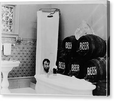 The Mishaps Of Musty Suffer - Bathtub Of Beer Canvas Print by Bill Cannon