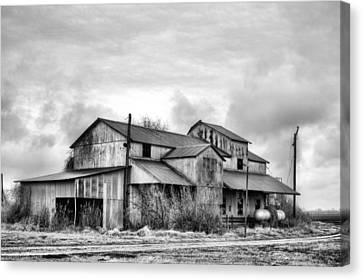 The Mississppi Delta Cotton Gin Black And White Canvas Print by JC Findley