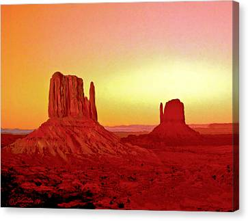 Mountain View Canvas Print - The Mittens Monument Valley by Bob and Nadine Johnston