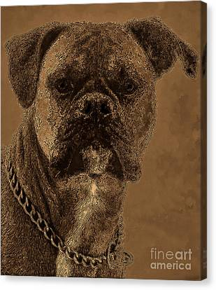 The Modern Boxer Bulldog Canvas Print by Lesa Fine