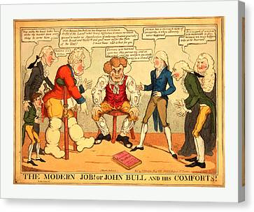 The Modern Job Or John Bull And His Comforts Canvas Print by English School
