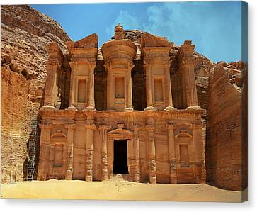 The Monastery At Petra Canvas Print by Stephen Stookey
