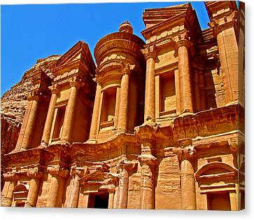 The Monastery Built In Early Second Century In Petra- Jordan Canvas Print by Ruth Hager