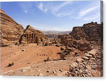 The Monastery Sculpted Out Of The Rock At Petra In Jordan Canvas Print