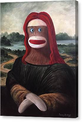 Canvas Print featuring the painting The Monkey Lisa by Randol Burns