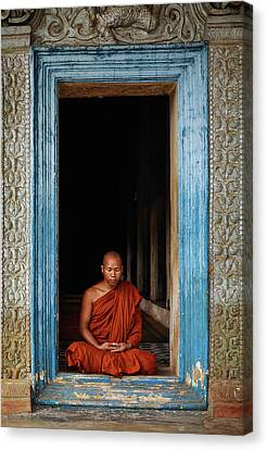 Cambodia Canvas Print - The Monks Of Wat Bo by Leah Kennedy